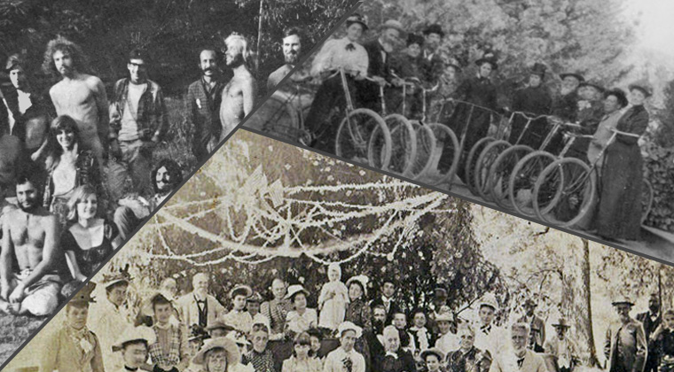 3 sections, the first is a large group of people, the seocnd is a picnic and the third is a row of bicycler riders.