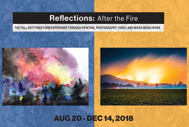 Reflections after the fire.  the Fall 2017 firestorm expressed through painting, photography, video, and mixed media work.  August 20 - December 14, 2018. Sonoma State University Library Gallery.  library.sonoma.edu
