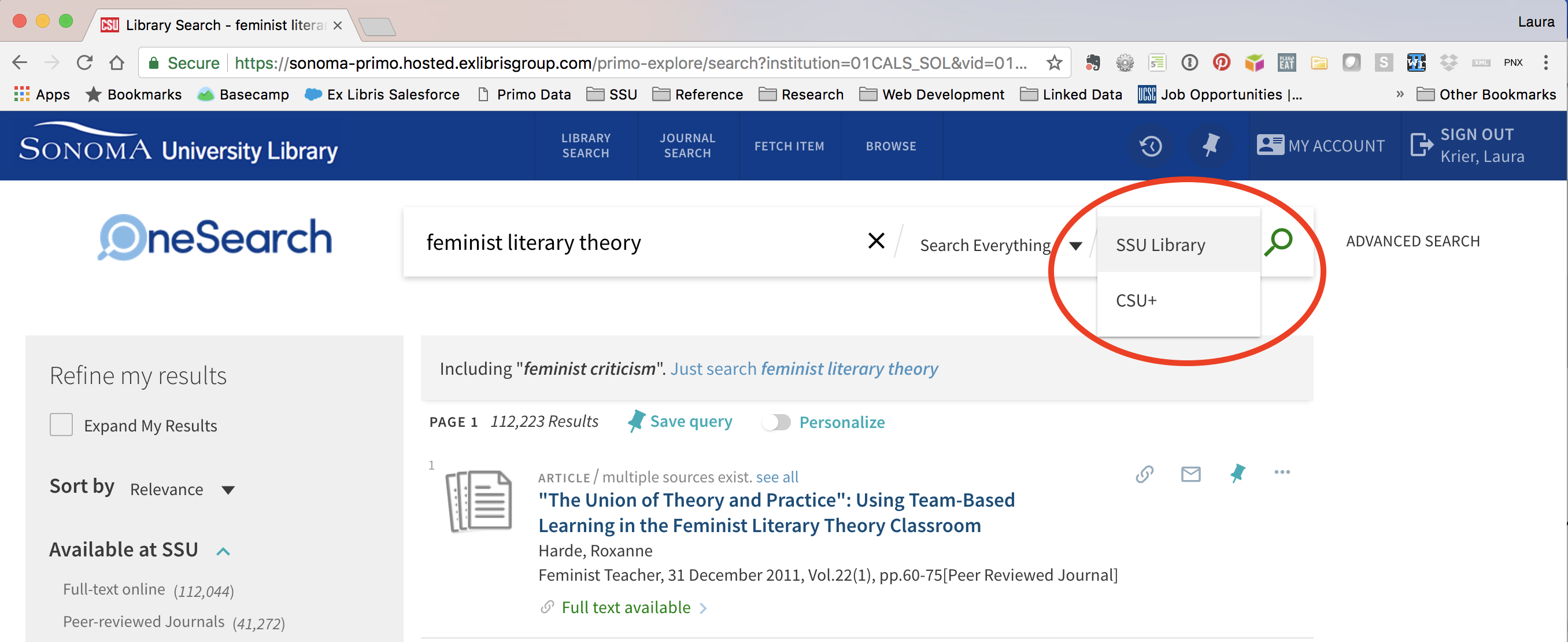 The drop down menu at the far right end of the search bar allows you to choose to search either SSU Library or CSU+.