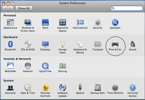 System preferences window with Print & Fax circled.