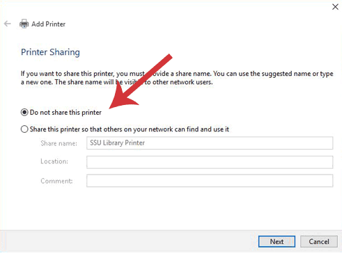 Add a Printer dialogue window with Do Not Share This Printer Selected.