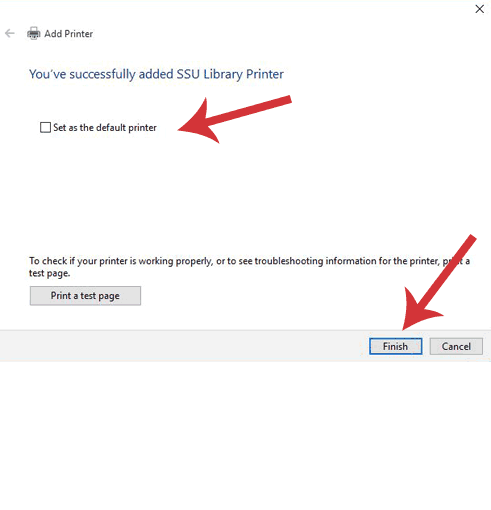 Add Printer dialogue window with Set as the default printer unchecked.