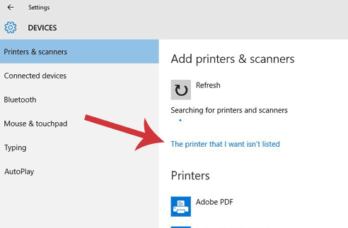 The printer that I want isn't listed in highlighted on the Devices dialogue window.