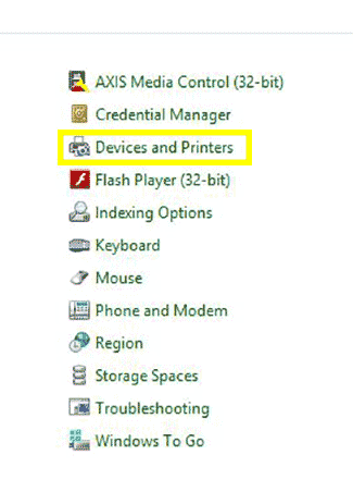 Options available from Windows 8 settings menu.  Devices and Printers is selected.
