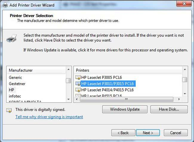 Add a Printer Driver Wizard with HP LaserJet P3011/P3015 PCL6 selected.