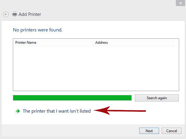 Add Printer dialogue box.  The printer that I want isn't listed is selected.