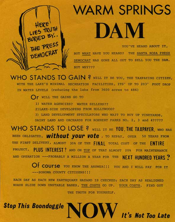 Flyer about Warm Springs Dam