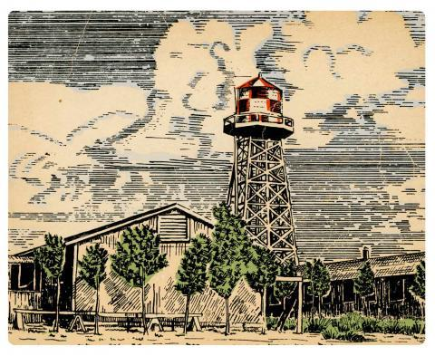 A sketch of a water tower and 2 houses with a cloudy background.