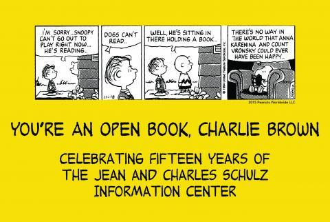 Postcard shows 4-panel comic strip with Linus and Charlie Brown talking about whether dogs can read, and Snoopy reading Anna Karenina. Title of show is beneath the comic strip.