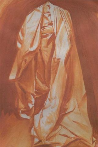 Postcard used in Cloak exhibit. Brown draped cloth.