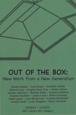 Postcard used in the Out of the Box: New Work from a New Generation exhibit.