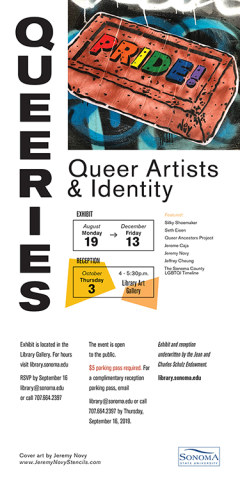 Postcard for the Queries, Queer Artists & Identity exhibit at the University Art Gallery.  From August 19 - Friday December 13