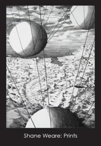 Postcard of a print.  Black and white with large spheres held up by strings.