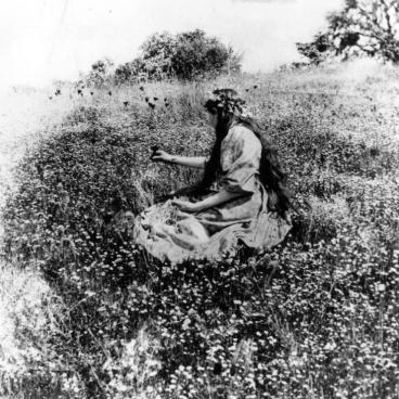 a woman picking flowers in a field.
