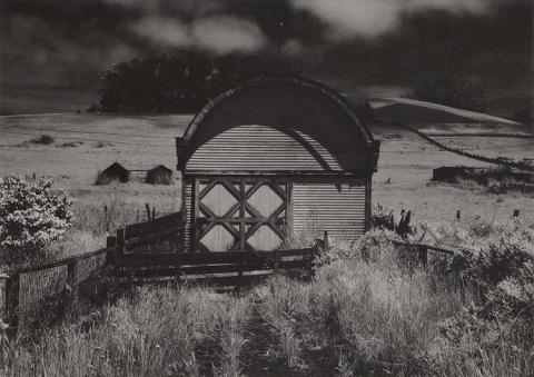 Black and white of a shed in a field.