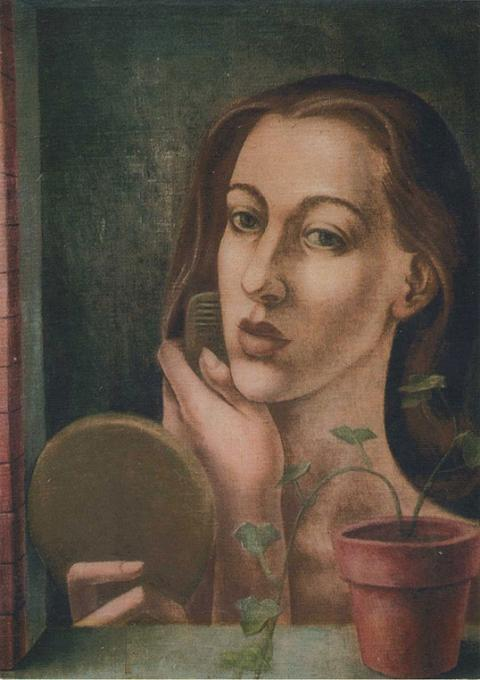 Woman combing her hair, looking into a mirror.