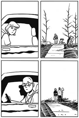 4 panel comic. 1 and 3 panels.  1 and 3 are people driving and looking out windows. 2 and 4 panels are people standing next to  the rubble of homes.