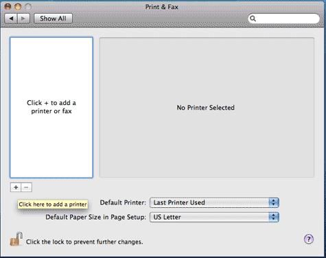 Print & Fax window with + selected to add a printer.