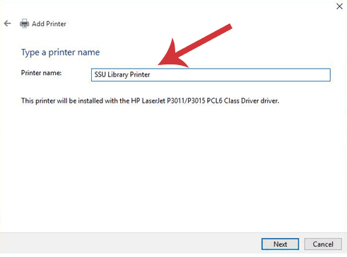 Add a printer dialogue window. Printer name textbox is SSU Library Printer.