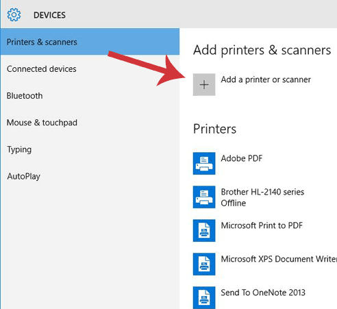 Devices dialogue window, add a printer of scanner is highlighted.