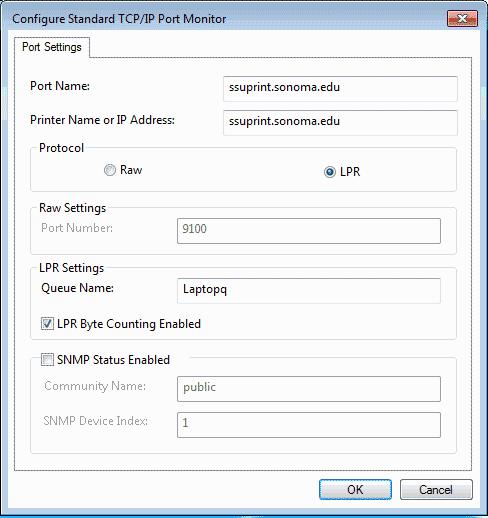 Screenshot of Configure Standard TCP/IP Port Monitor.