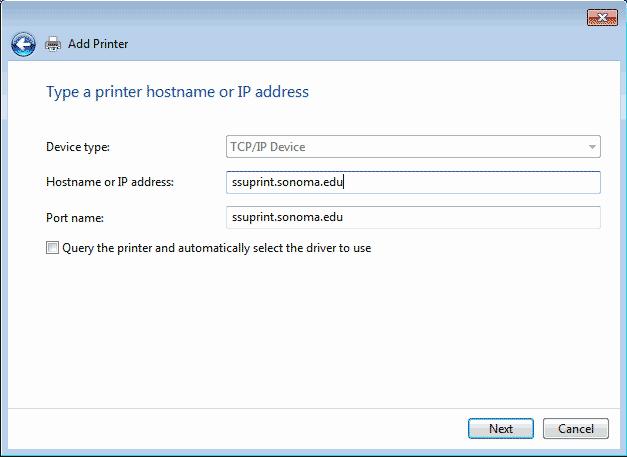 Screenshot  of the hostname or IP address is ssuprint.sonoma.edu