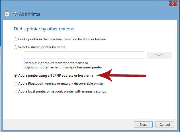 Add a printer dialogue box with Add a printer using TCP/IP address or hostname selected.