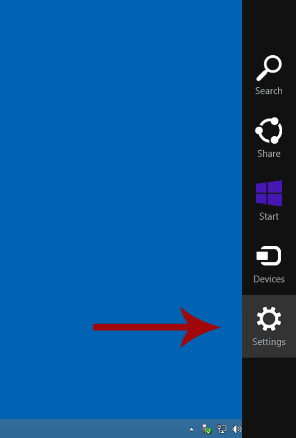 Screenshot of Windows 8 with the Settling option highlighted.