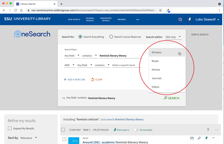 Screenshot of results screen for OneSearch, all items dropdown shows Books Articles, Journals and Videos