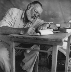 Earnest Hemingway writing.
