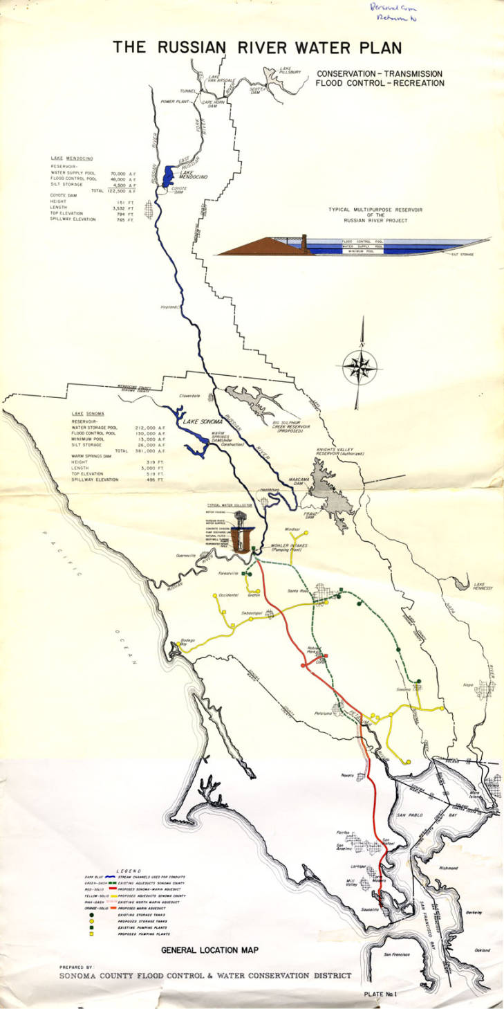 Map of Russian River water map
