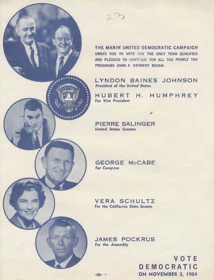 Vote Democratic flyer with Lyndon Johnson and George Mccabe