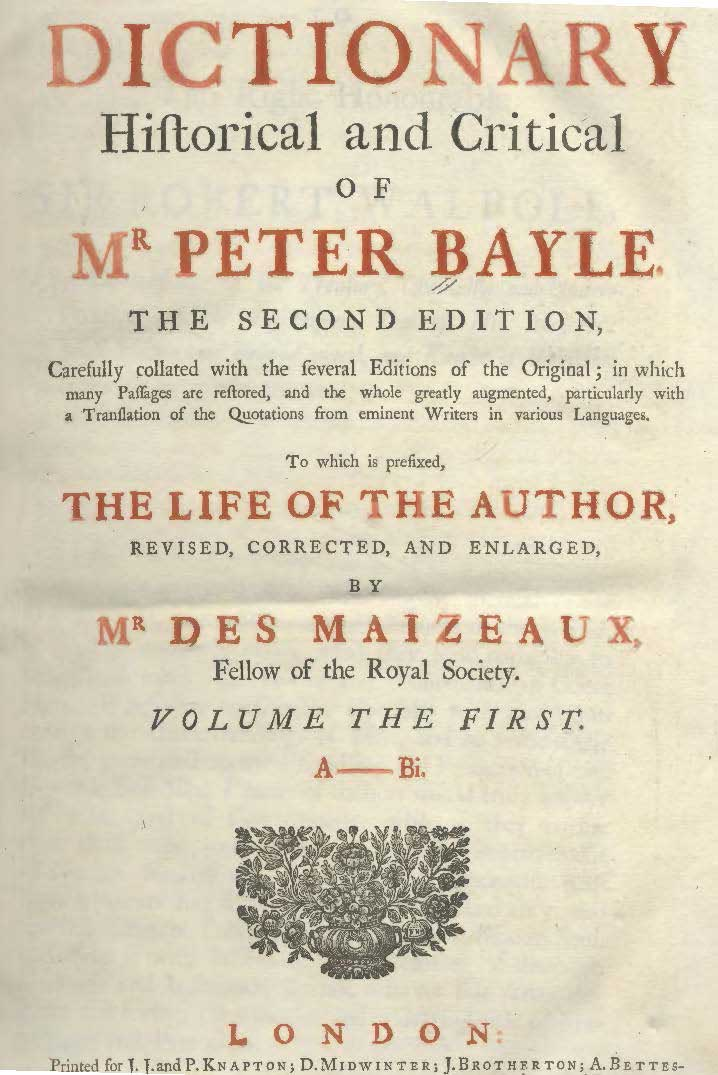 Dictionary Historical and Critical of Mr Peter Bayle
