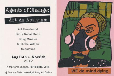 Postcard used for Agent of Change gallery exhibit.