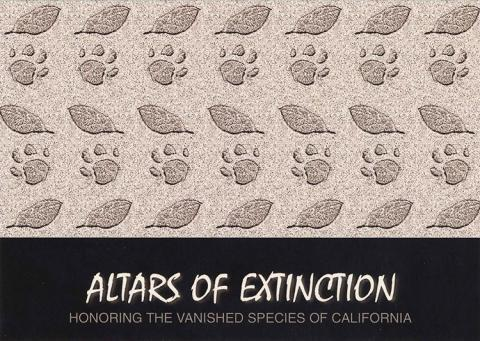 Altars of Extinction postcard. Footprints and leaves  with the text Honoring the vanished species of California.