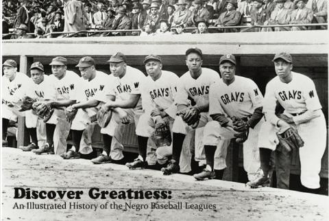 Postcard used for the Discover Greatness gallery exhibit.  9 men are in baseball uniforms and holding gloves.