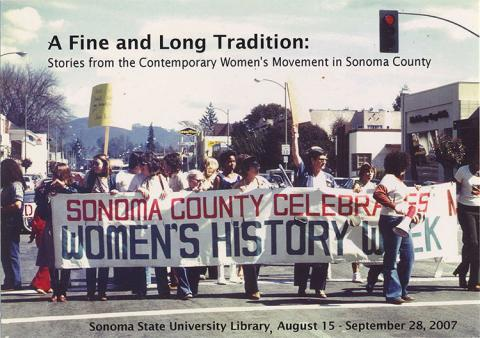 Women marching with banner Sonoma County Celebrates Women's History Week