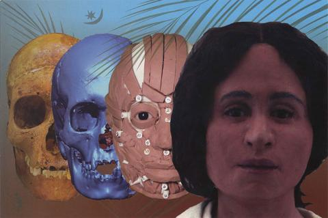 Postcard from Death to Life.  There is a womans face, behind her is a face with muscles of the face viewable, behind that a skull and behind that a weathered skull.