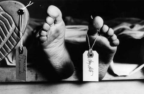 Black and white of feet with a toe tag.